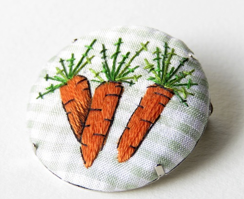 Carrot Button Brooch by Marg Dier Embroidery (Hand Embroidery)