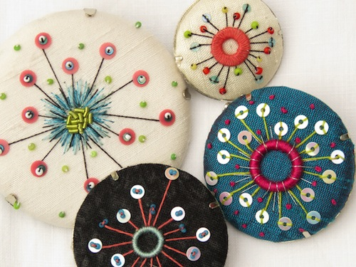 1950's style Atomic Brooches by Marg Dier Embroidery (Hand Embroidery)