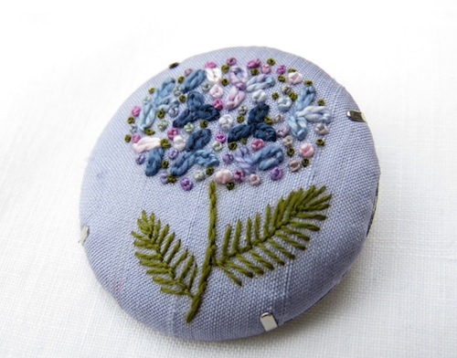 Hydrangea Brooch by Marg Dier Embroidery (Hand Embroidery)