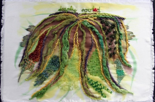 Deeply Rooted, painted silk, hand embroidery, wool felt. Claudia Jaeggi Nessler, 2014