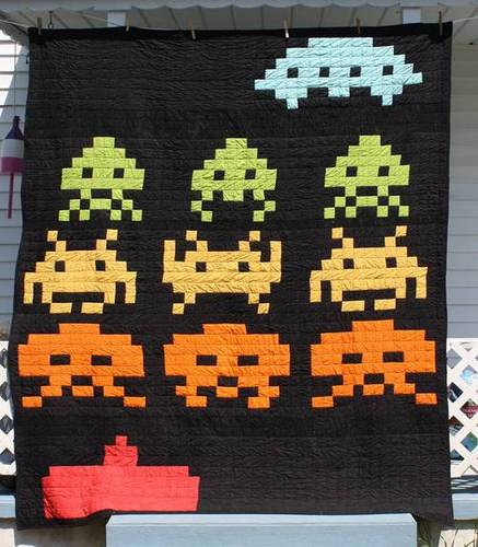 Craftster Pick of the Month – Mermonster's Space Invaders Quilt