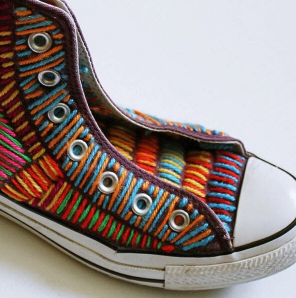 Hand embroidered Converse by Victoria Villasana, 2015.