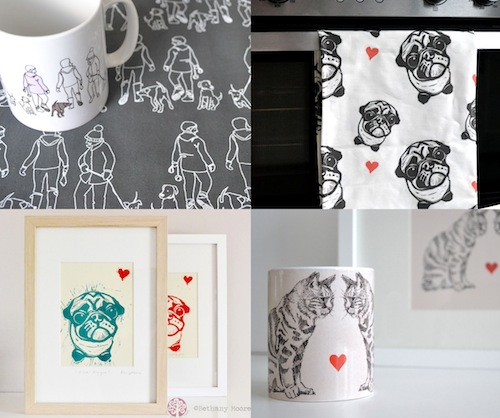 Contemporary Pet Art and Illustration by The Rhubarb Tree
