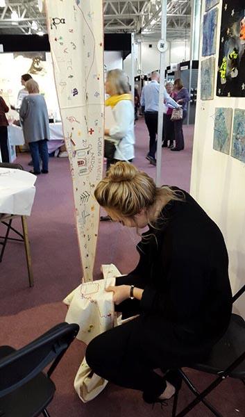 Stitching on the World's Longest Hand Embroidery, Mr X Stitch