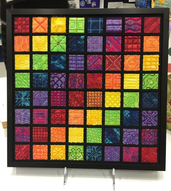 Ellen Brown's beautiful Cymatics Sampler needlepoint canvas design is a study of color, texture, and soundwaves.