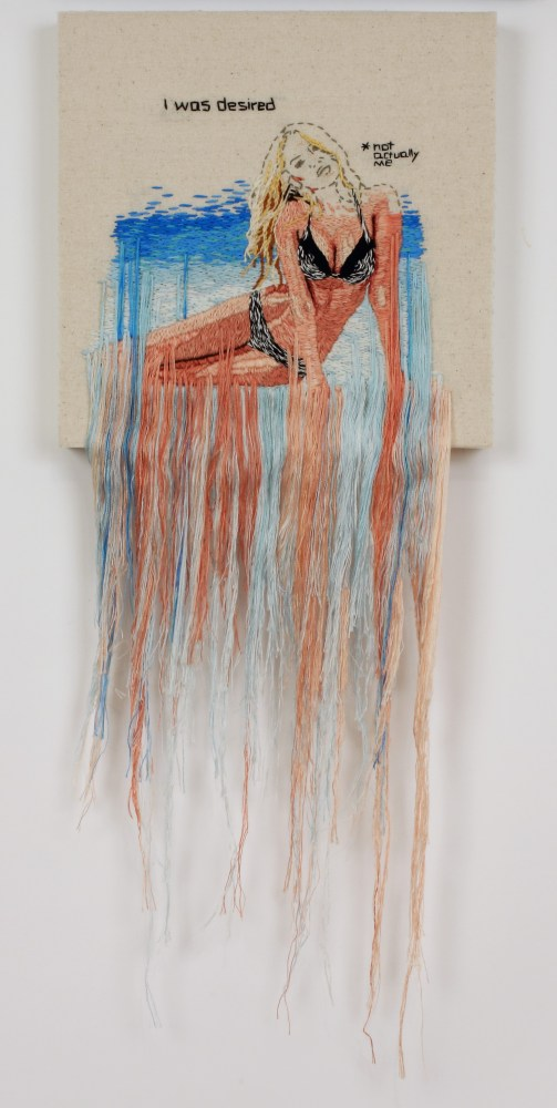 Desired, hand embroidered linen on wood panel, by Kathy Halper