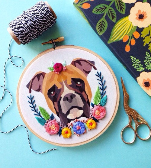Boxer Hoop Art by Femmebroidery (Hand Embroidery)