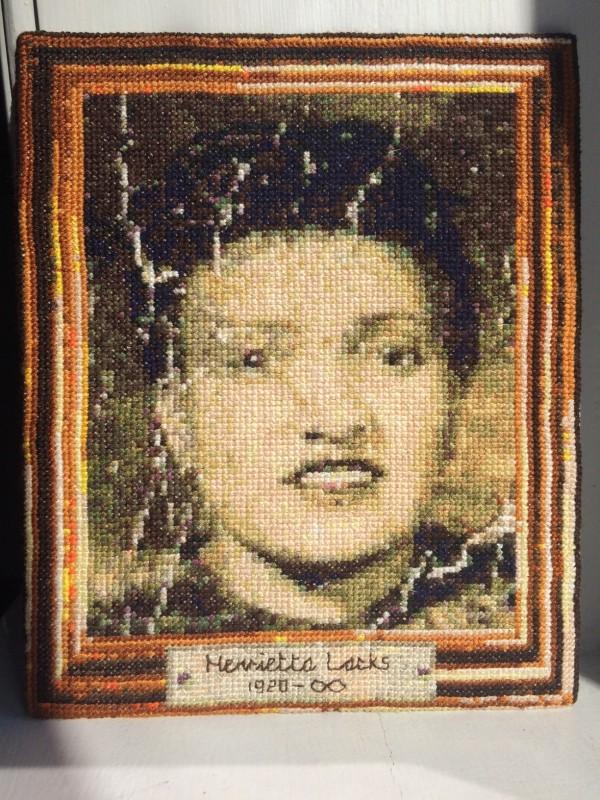 Tom Katsumi's Henrietta Lacks Cross Stitch