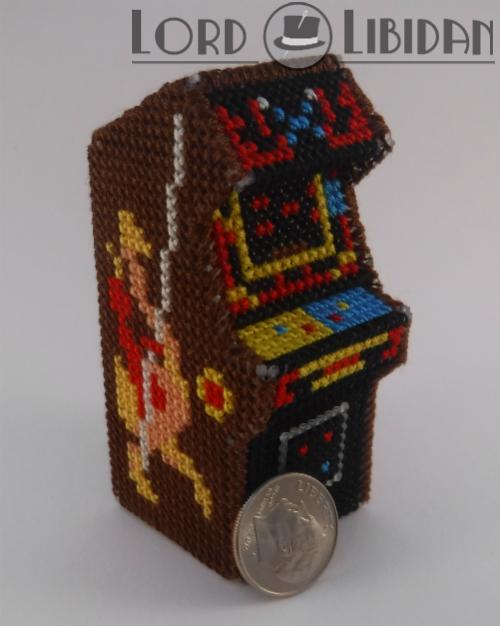 Stitchgasm – Lord Libidan's Miniature 3D Joust Arcade Cabinet Cross Stitch