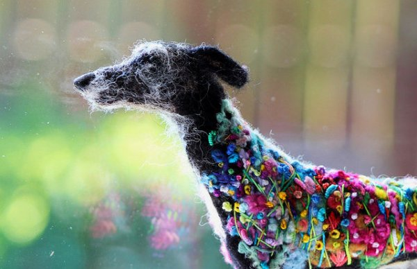 Detail, Flower Power Hound by Felted Fido.