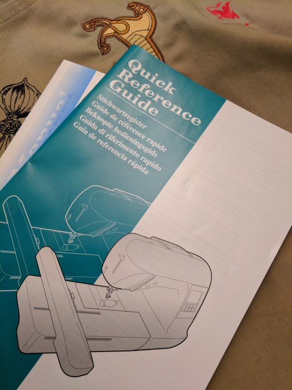 Embroidery Machine quick reference guide and manual with embroidered samples.