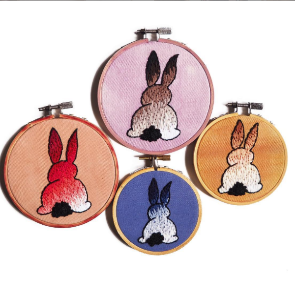 alexsembroidery's hand embroidered bunnies