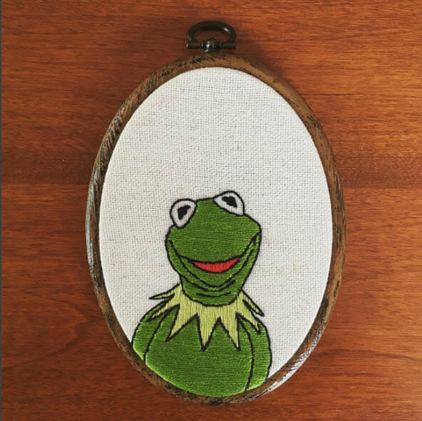 Kermit the Frog Hand embroidery by Renata Ocampo