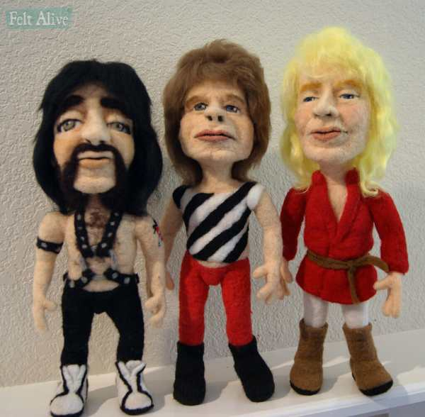 Spinal Tap Caricature Dolls by Feltalive