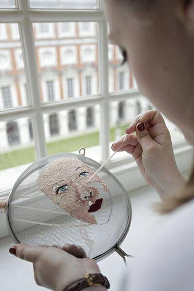 Embroidered sieve, by Elena Thornton