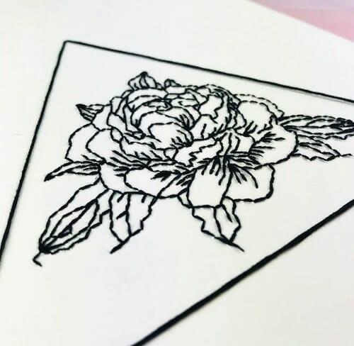 Pulp Stitchin' - Geometric Peony Embroidery (detail)