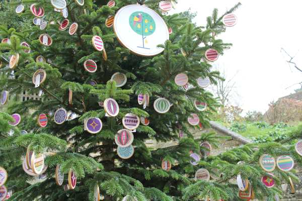 Cross Stitched Baubles on the Winter Tree at Standen House, East Grinstead