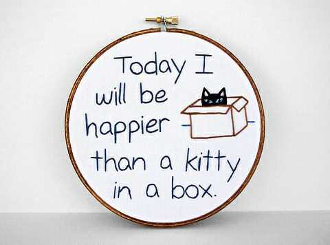 Kitty in a Box embroidery