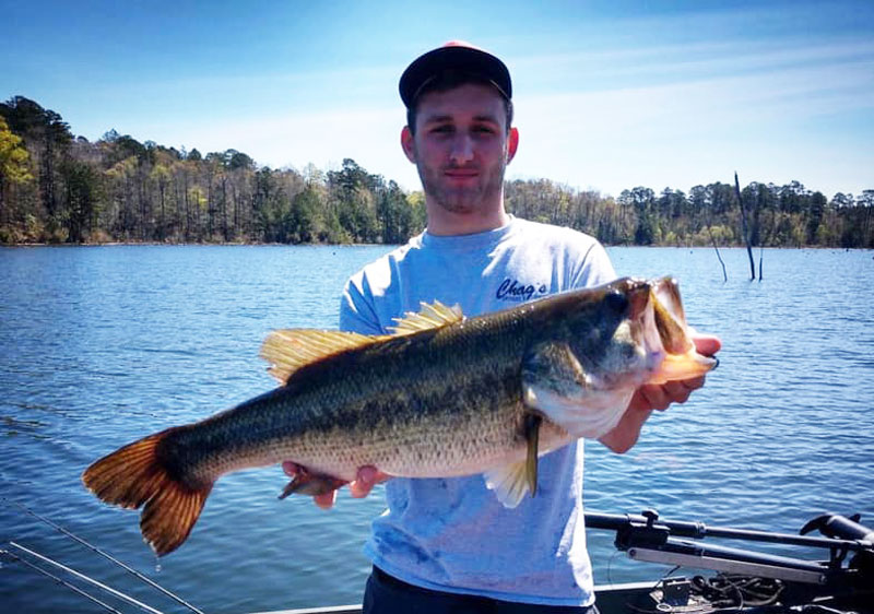 Josh Roth with his 7-pound lunker bass.