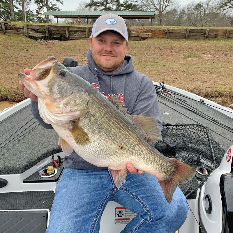 Channing Davis of Nettleton with his 13.54-pound bass that tied the lake record at Lake Lamar Bruce.