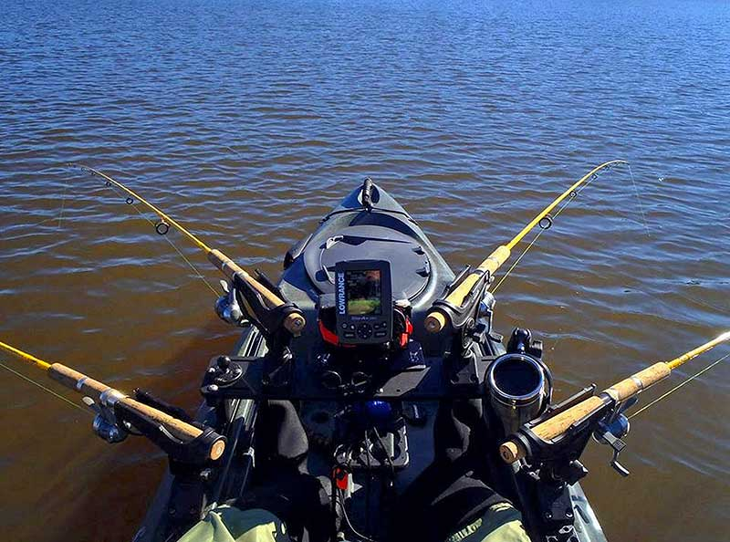 Your rod-holder setup will depend on how the boat is propelled. When using a paddle boat, leave enough room for the paddle stroke.