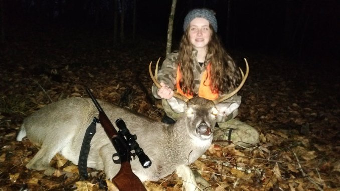 Anna Beth Garbo from Robert, La., with a December buck taken this past season. She is a crack shot and has been hunting and bagging deer since the age of six. Her preferred caliber and bullet combo are the the .243 Win. with a 100-grain PSP Bullet.