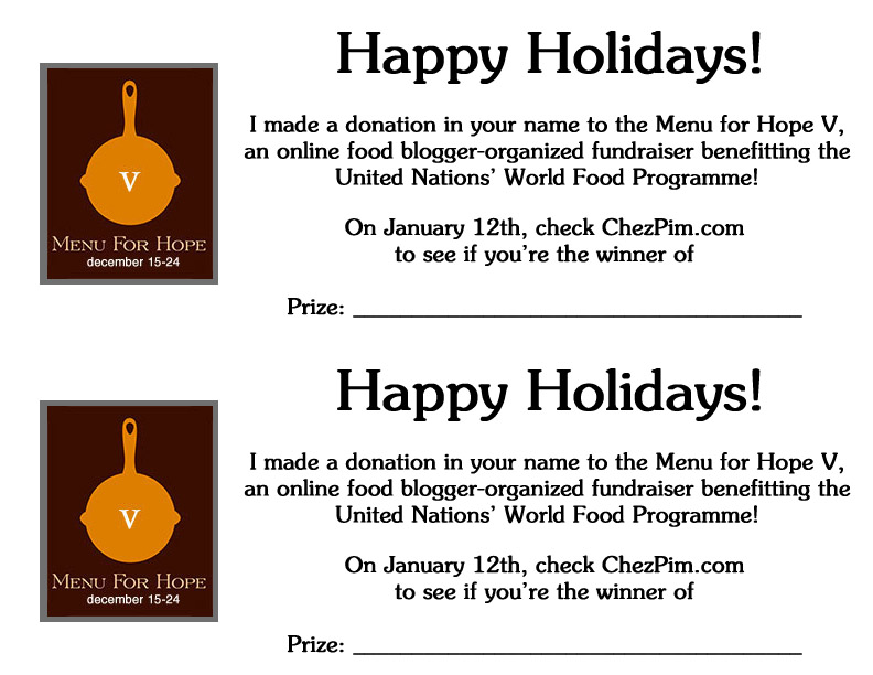 Give the Gift of A Menu For Hope