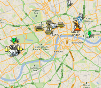 London Google Map screenshot by Sara Rosso
