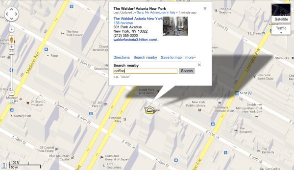 "Searching for coffee near my ""home"" location of the Waldorf Astoria"
