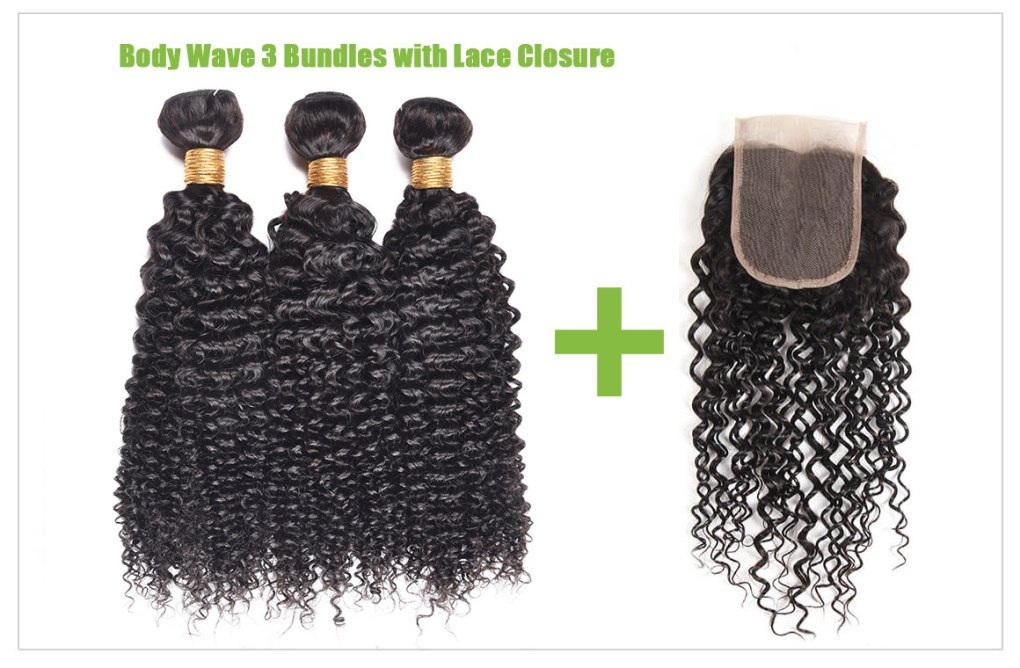 curly weave hair bundles with lace closure 1