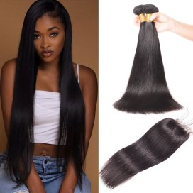 Brazilian Straight Hair 3 Bundles With Lace Closure Virgin Human Hair