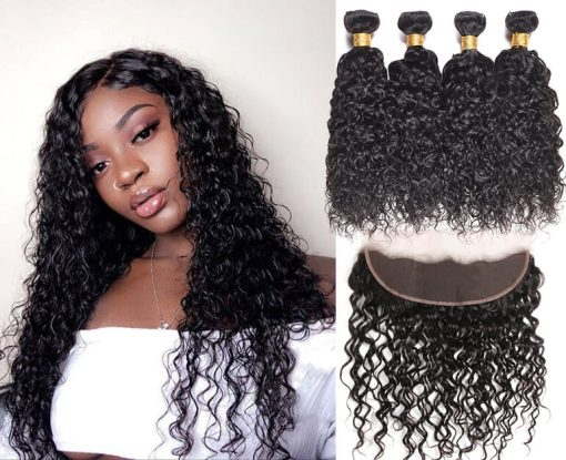 Brazilian Water Hair 4 Bundles With Lace Frontal Closure Deals