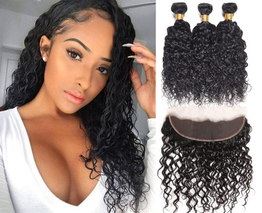 Brazilian Water Wave Hair 3 Bundles With Lace Frontal Closure Deals