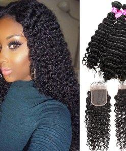 Peruvian Deep Wave 4 Bundles Human Hair With lace Closure