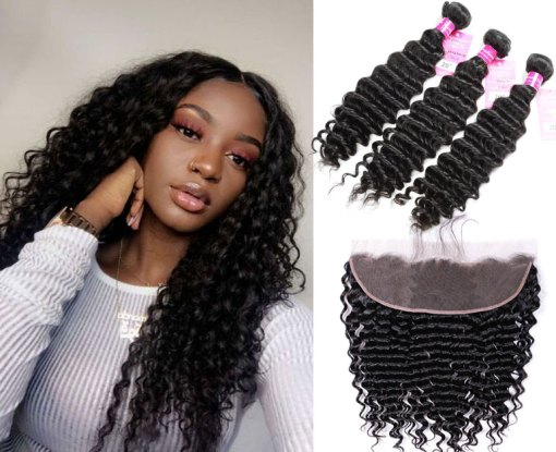 Peruvian Deep wave Hair 3 Bundles With Lace Frontal