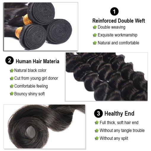 loose deep wave human hair bundles 1