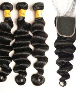 loose deep wave human hair bundles with lace closure
