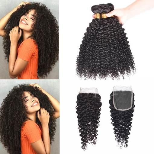 Indian Curly Weave Virgin Human Hair 4 Bundles With Closure