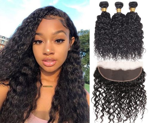 Indian Water Wave Hair 3 Bundles With Lace Frontal Closure Deals