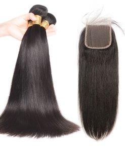 Straight Hair Bundles With Human Hair Lace Closure