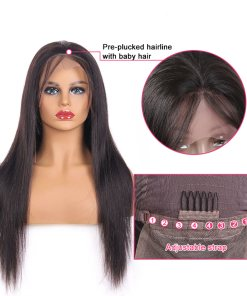 human hair straight lace front wig
