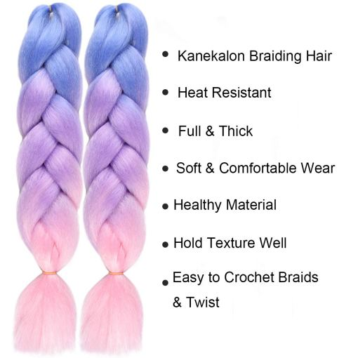 Kanekalon Jumbo Braiding Hair Ombre Colorful Blue-Purple-Pink