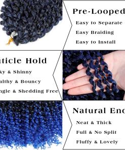 Passion Twist Hair Blue Ombre Water Wave Crochet Hair