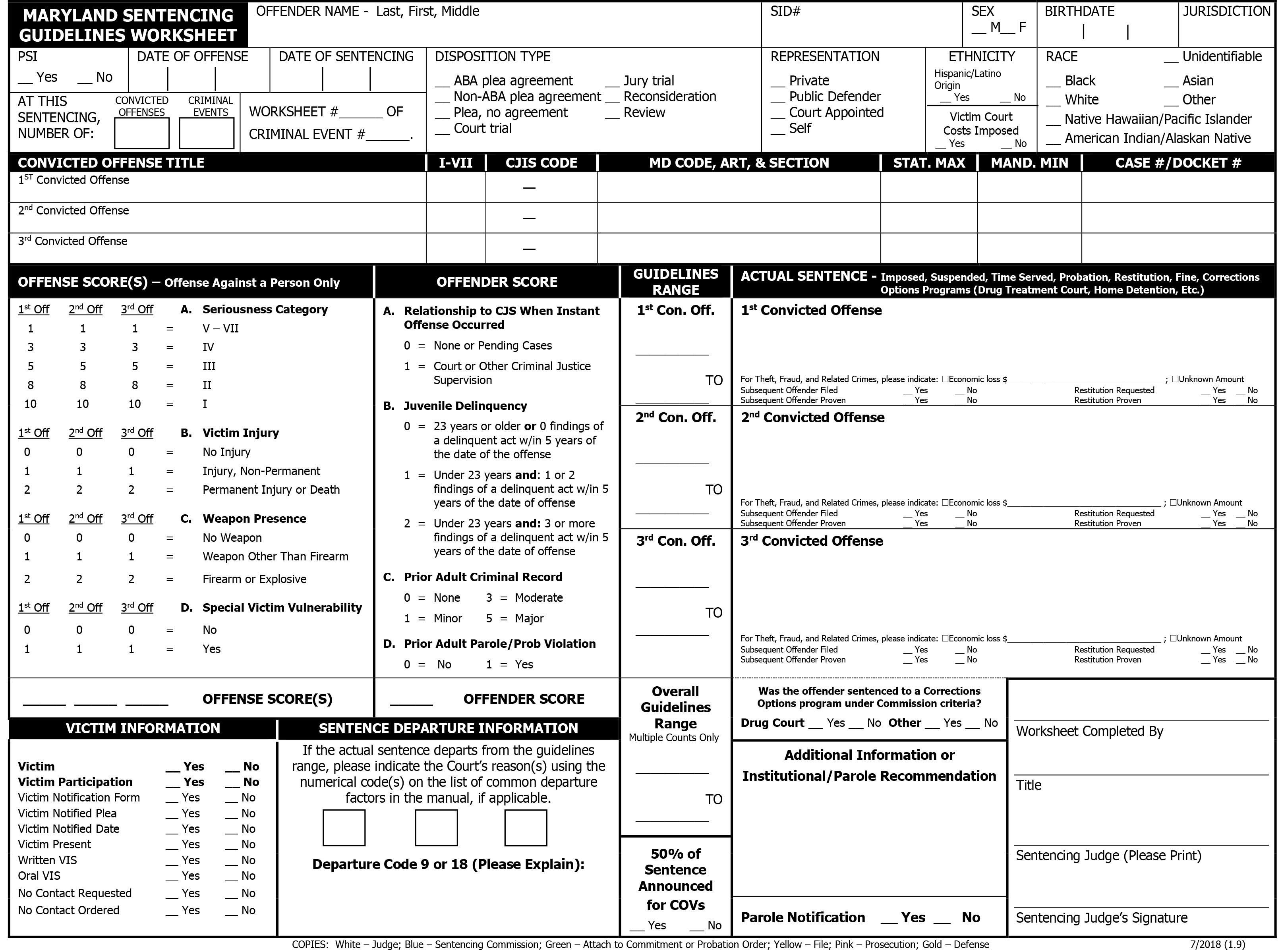 Maryland Sentencing Guidelines Worksheet Msccsp