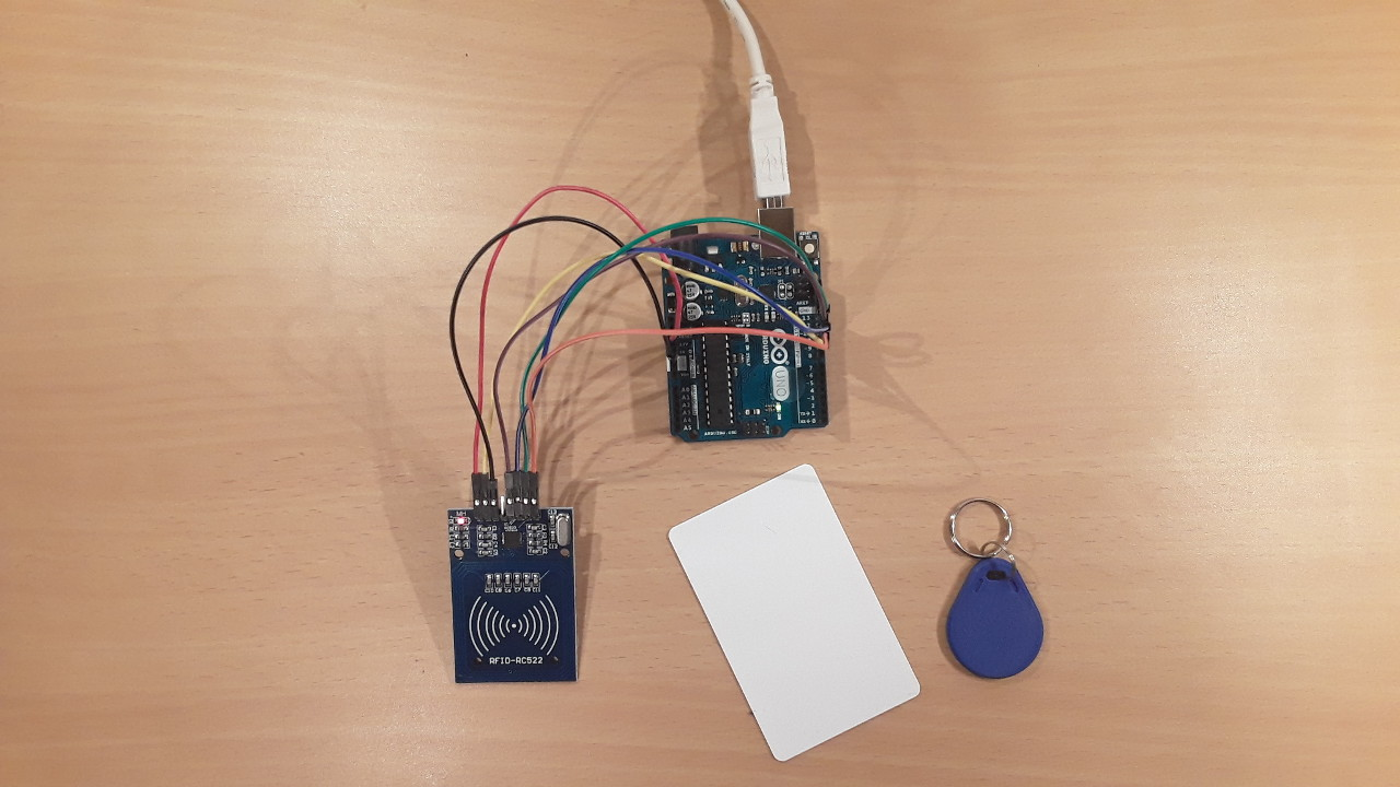 hight resolution of setup of this tutorial rfid reader and two rfid tags
