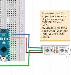 this fritzing file shows a schematic of how to wire an arduino nano to the led [ 1533 x 810 Pixel ]