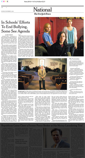 In Schools Efforts to End Bullying, Some See Agenda - New York Times, Nov. 7, 2010.