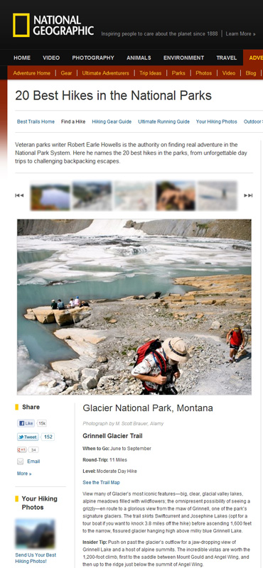 Image of Grinnell Glacier trail published on NationalGeographic.com