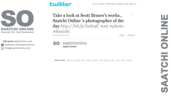 Photographer of the Day announcement on Saatchi Online's Twitter stream