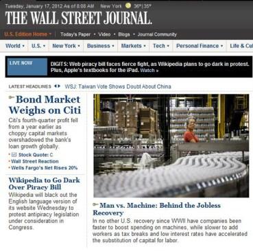 Screenshot of WSJ.com on Jan. 17, 2012